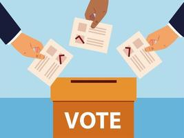 election day, hands with vote ballots and box vector