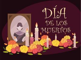 Día de los muertos, altar mexicano con velas de fotos y celebración de flores. vector