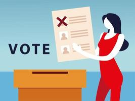 election day, woman with vote ballot and box vector