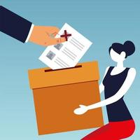 election day, woman holding box and hand with ballot vector