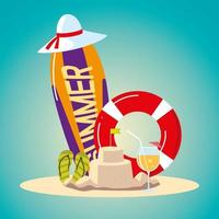 summer vacation travel, surfboard float sandcastle hat cocktail and sandals vector