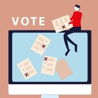election day, man sitting with ballot on computer vector