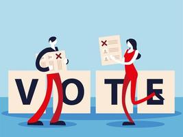 election day, people with ballots and vote lettering vector