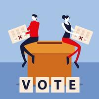 election day, man and woman with ballots sitting on box voting vector