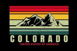 T-shirt colorado mountain beautiful retro style vector