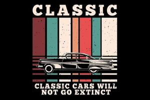 T-shirt classic cars extinct retro style vector