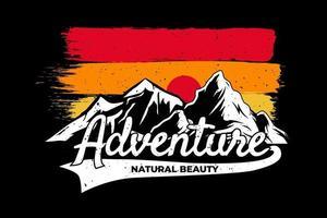 T-shirt mountain adventure retro sky vector