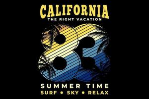 T-shirt california vacation summer time surf sky relax typography retro style vector