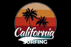 T-shirt california beach surfing retro style vector
