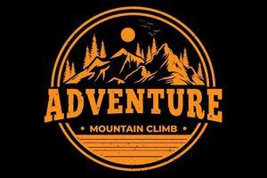 T-shirt adventure mountain climb vintage style vector