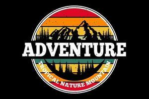 T-shirt adventure tropical nature mountain retro design vector