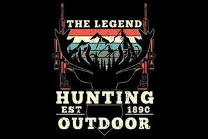 camiseta caza ciervos leyenda al aire libre estilo retro vintage vector