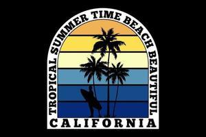 T-shirt tropical summer california retro surf design vector