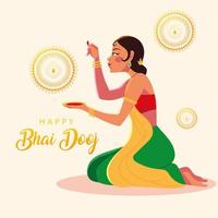 happy bhai dooj and indian woman cartoon with bowl vector design