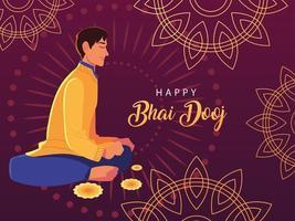 happy bhai dooj with indian man cartoon vector design