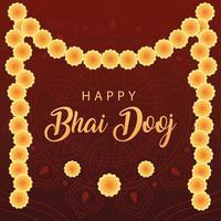 happy bhai dooj with yellow flowers vector design