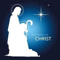 nativity, white silhouette joseph and mary with shining star blue background vector