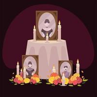 dia de muertos, altar con marco fotos flores y velas celebracion mexicana vector