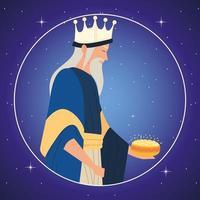 natividad, melchor rey sabio pesebre retrato redondo vector
