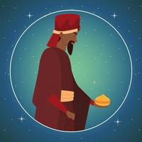 natividad, balthazar, rey sabio, pesebre, redondo, retrato vector