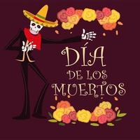 dia de muertos, esqueleto con traje de mariachi y sombrero decoracion de flores, celebracion mexicana vector