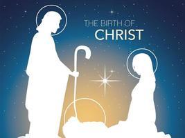 Natividad, celebración tradicional pesebre Sagrada Familia en silueta y fondo degradado vector
