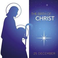 nativity, traditional celebration birth of christ, greeting card with joseph and mary vector