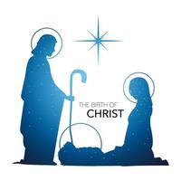 Natividad, pesebre escena sagrada familia siluetas brillantes vector