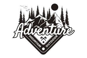 T-shirt adventure mountain outdoor vintage style vector