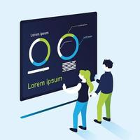donut charts infographic with woman and man vector design