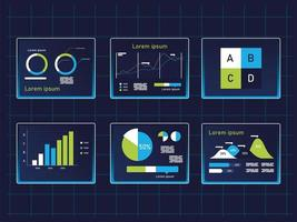 charts infographics icons collection vector design
