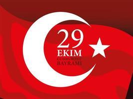 29 ekim cumhuriyet bayrami con diseño de vector de bandera roja turca