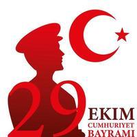 29 ekim cumhuriyet bayrami con silueta de hombre ataturk turco luna y diseño de vector de estrella