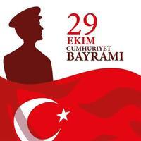 29 ekim cumhuriyet bayrami con bandera turca y diseño de vector de silueta de hombre ataturk