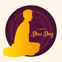 happy bhai dooj with indian man silhouette vector design