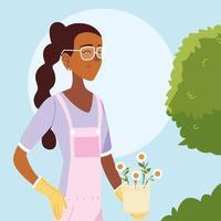 gardener woman cartoon with overall shrub and flowers bucket vector design