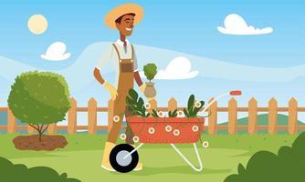 Dibujos animados de hombre jardinero con flores carretilla y diseño de vectores de plantas