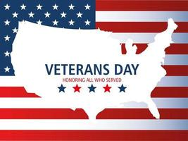 happy veterans day, map in silhouette with american flag and stars vector