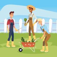 jardinero, hombres, caricatura, con, flores, carretilla, vector, diseño vector