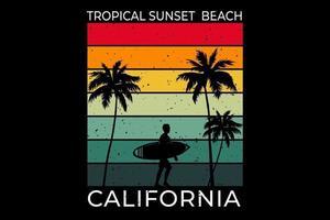 camiseta tropical sunset beach california surf estilo retro vector