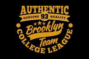 camiseta tipografía brooklyn auténtica liga universitaria estilo vintage vector