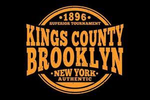 camiseta tipografía kings county brooklyn auténtico diseño vector