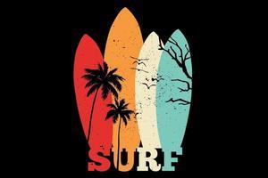 T-shirt surfboard trees retro style vector