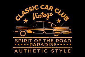 camiseta tipografía club de coches clásicos diseño de estilo auténtico vector