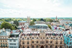 Oxford, UK - August 29, 2019 - High angle view of High Street of Oxford photo