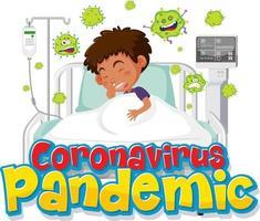 Coronavirus Pandemic banner with boy patient cartoon character vector