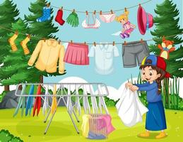 Outdoor scene with a girl hanging clothes on clotheslines vector