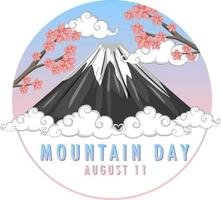 Mountain Day in Japan banner with Mount Fuji and Sakura vector