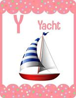 Alphabet flashcard with letter Y for Yacht vector