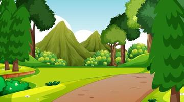 Forest scene with various forest trees and walkway lane path vector